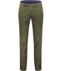 pantalon portofino flatfront regular fit groen