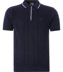 gabicci vintage 1973 bronson knitted polo shirt | navy | v46gm05-nvy