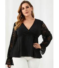 blusa de manga larga con cierre en la espalda con cremallera y cuello en v de talla grande