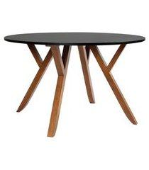 mesa de jantar redonda ipiranga ii madeira maciça mel e preta