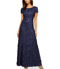 alex evenings petite rosette lace a-line gown