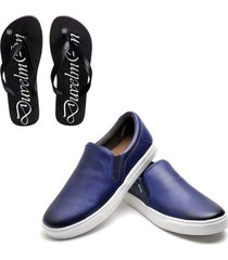 kit sapatênis tênis masculino de couro e chinelo masculino conforto royal