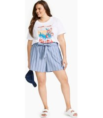 full circle trends plus trendy cotton paperbag-waist shorts