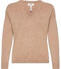objthess l/s v-neck knit pullover noos stickad tröja beige object