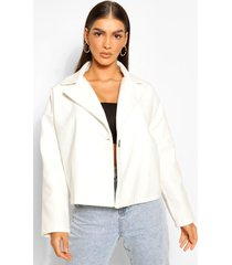 oversized short wool look coat, ivory