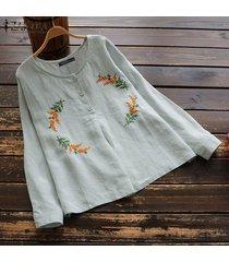 zanzea botones para mujer camisa casual de manga larga tops cuello redondo blusa étnica de ganchillo -azul claro