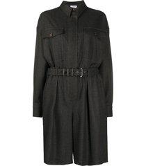 brunello cucinelli belted shirt dress - grey