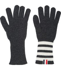 thom browne 4-bar cashmere gloves - grey