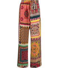 etro silk patchwork print trousers - yellow