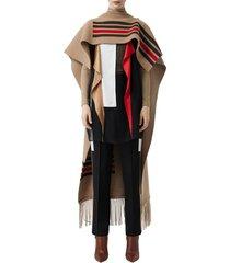 women's burberry stripe wool & cashmere cape