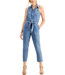 guess belted denim jumpsuit