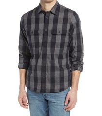 men's 1901 trim fit buffalo check stretch flannel button-up shirt, size large - grey