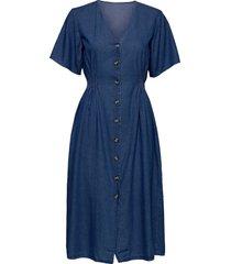 slfclarisa ss v neck dress u dresses jeans dresses blå selected femme