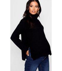 zwangerschaps trui met met zijsplit en rolhals, zwart