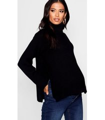 maternity roll neck sweater with side split, black