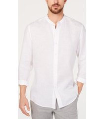 tasso elba men's band collar linen shirt, created for macy's