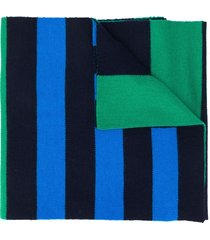 pringle of scotland rugby-striped merino wool scarf - green