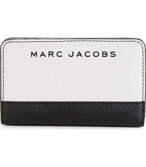 marc jacobs compact colorblock leather bi-fold wallet - meringue