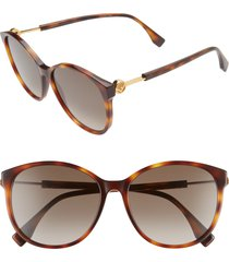 women's fendi 58mm gradient cat eye sunglasses - dark havana/ brown