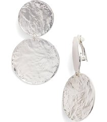 women's karine sultan aimee large disc clip earrings