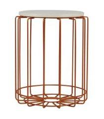 mesa de canto redonda para vasos, objetos, decoração - aço e madeira