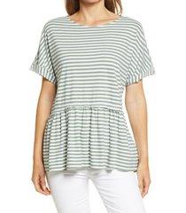 women's caslon floaty peplum jersey top, size x-small - white