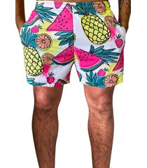 shorts praia  j10microfibra com elastano bolsos nas laterais  estampa frutas  ref.01037 branco