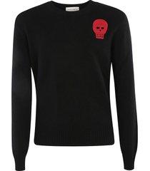 alexander mcqueen skull embroidered sweater