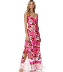 vestido rosado-multicolor maaji swimwear flower garden lisse long