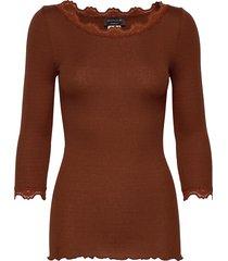silk t-shirt boat neck regular w/vi t-shirts & tops long-sleeved bruin rosemunde