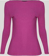 blusa feminina canelada manga longa decote canoa rosa escuro