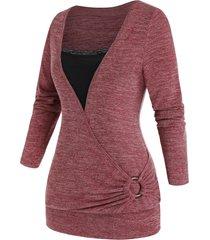 plus size surplice lace insert o-ring tunic knitwear