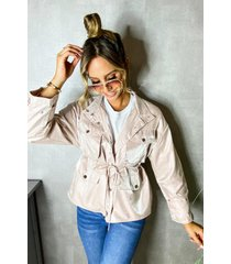 satin tie waist utility jacket, blush