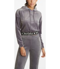 juicy couture women's cropped hooded pullover