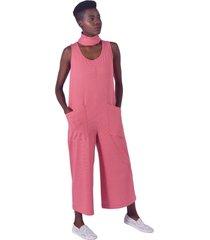 macacão equal moda inclusiva pantacour listrado vermelho e branco