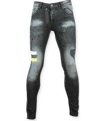 skinny jeans addict spijkerbroek met verfvlekken - 0