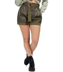 guess lala faux leather belted shorts