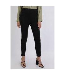 calça legging feminina estampada de animal print em jacquard preta