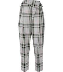 3.1 phillip lim plaid belted overlap trouser - multi