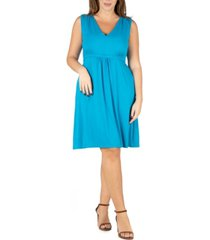 24seven comfort apparel women's plus size empire waist sleeveless party dress