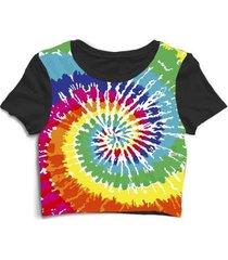 blusa feminina cropped tshirt tie dye colorido colors - feminino