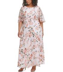 calvin klein plus size floral-print empire-waist flutter-sleeve dress