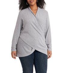 1.state cross front knit top, size 2x in silver heather at nordstrom