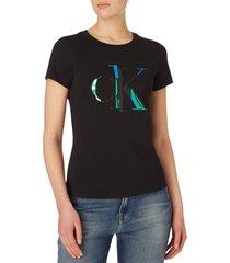 camiseta de algodón orgánico con logo negro calvin klein