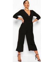 culotte wikkel jumpsuit met ceintuur, zwart
