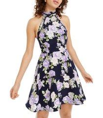 b darlin juniors' halter floral fit & flare dress