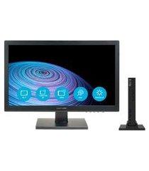 mini pc multilaser 4gb 30gb ssd clrn w10 pro preto + monitor led 18,5 pol. mn001 - um112 um112