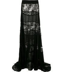 amir slama lace panels maxi skirt - black