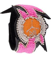 walter van beirendonck beaded embroidered bracelet - pink