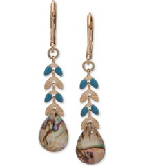 lonna & lilly gold-tone blue-green linear drop earrings